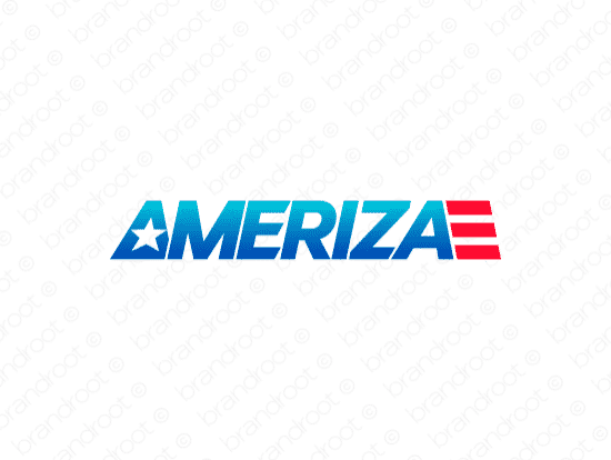 Ameriza logo design included with business name and domain name, Ameriza.com.