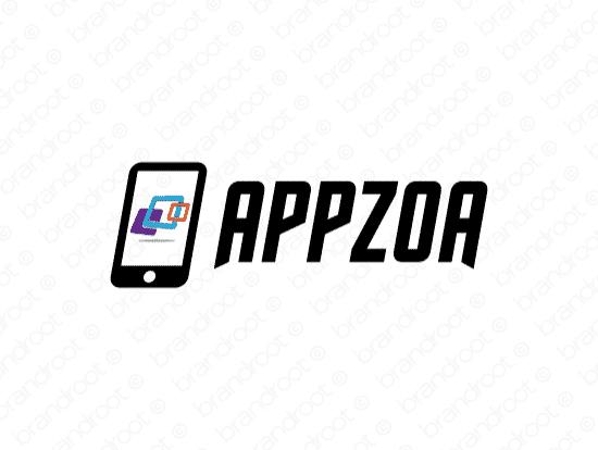Appzoa logo design included with business name and domain name, Appzoa.com.