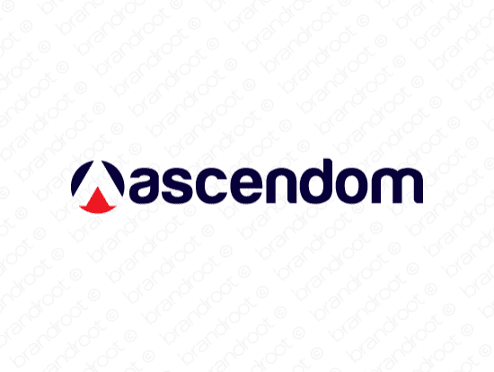 Ascendom logo design included with business name and domain name, Ascendom.com.