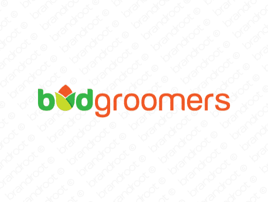 Budgroomers logo design included with business name and domain name, Budgroomers.com.