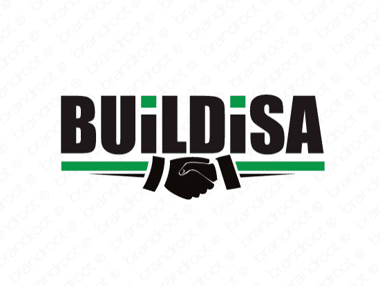 Buildisa logo design included with business name and domain name, Buildisa.com.