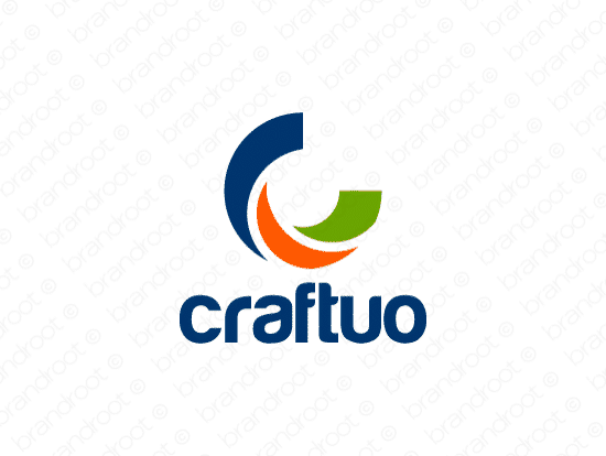 Craftuo logo design included with business name and domain name, Craftuo.com.