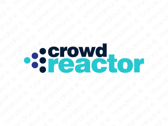 Crowdreactor logo design included with business name and domain name, Crowdreactor.com.