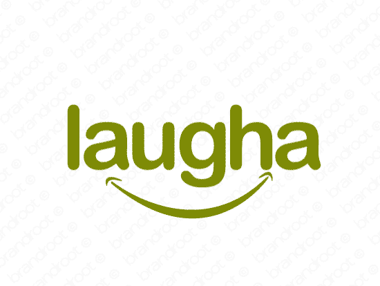 Laugha logo design included with business name and domain name, Laugha.com.