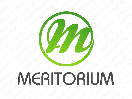Meritorium logo design included with business name and domain name, Meritorium.com.