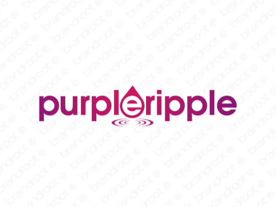 Purpleripple logo design included with business name and domain name, Purpleripple.com.