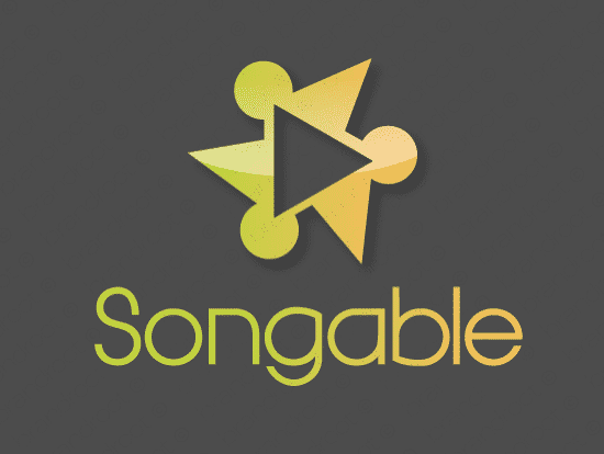 Songable logo design included with business name and domain name, Songable.com.