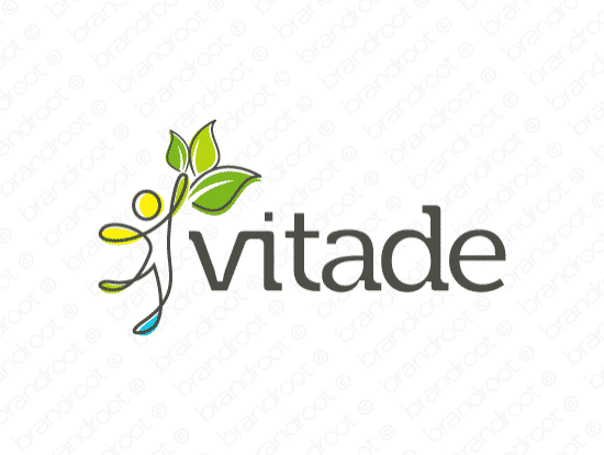 Vitade logo design included with business name and domain name, Vitade.com.