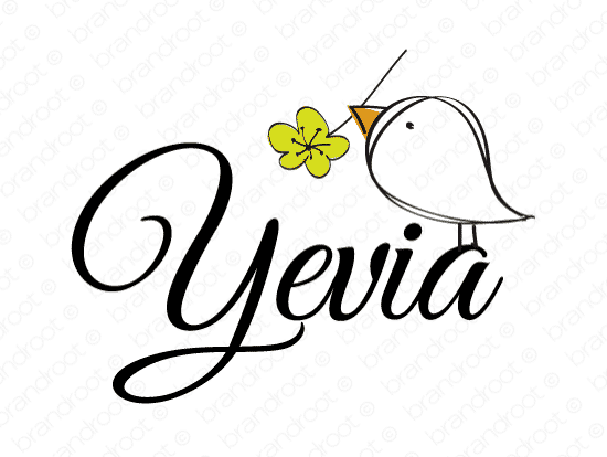 Yevia logo design included with business name and domain name, Yevia.com.