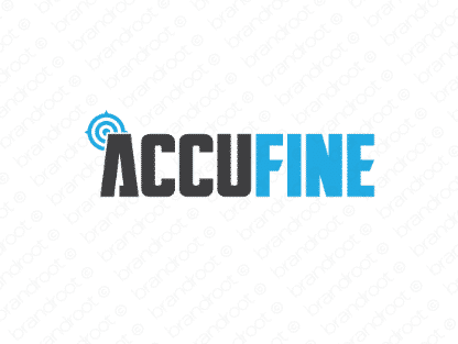 Accufine logo design included with business name and domain name, Accufine.com.
