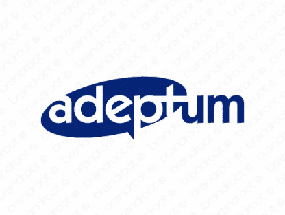 Adeptum logo design included with business name and domain name, Adeptum.com.