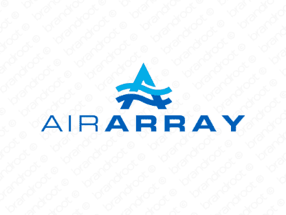 Airarray logo design included with business name and domain name, Airarray.com.