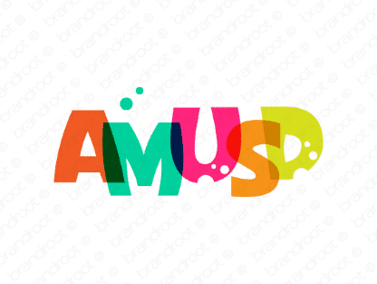 Amusd logo design included with business name and domain name, Amusd.com.
