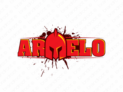 Armelo logo design included with business name and domain name, Armelo.com.