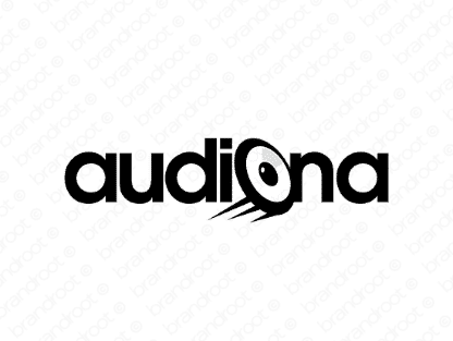 Audiona logo design included with business name and domain name, Audiona.com.