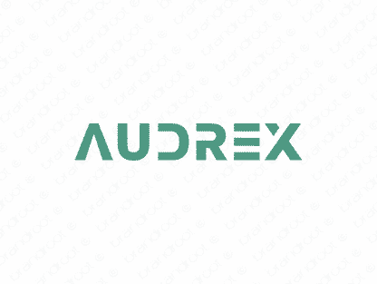 Audrex logo design included with business name and domain name, Audrex.com.