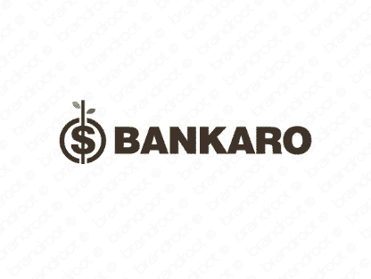 Bankaro logo design included with business name and domain name, Bankaro.com.
