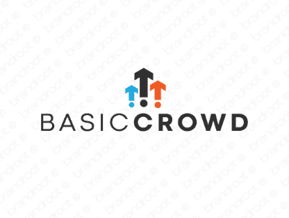 Basiccrowd logo design included with business name and domain name, Basiccrowd.com.