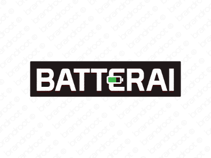 Batterai logo design included with business name and domain name, Batterai.com.