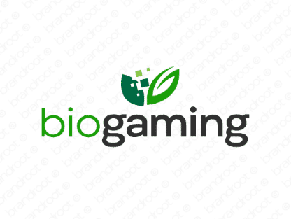 Biogaming logo design included with business name and domain name, Biogaming.com.