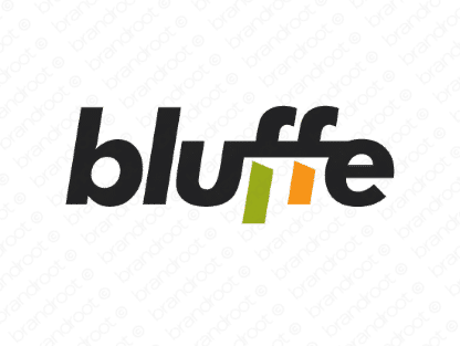 Bluffe logo design included with business name and domain name, Bluffe.com.