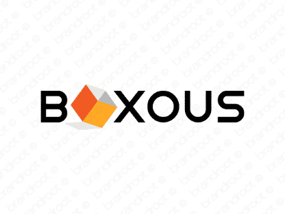 Boxous logo design included with business name and domain name, Boxous.com.
