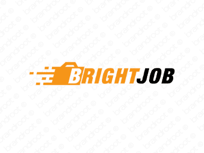 Brightjob logo design included with business name and domain name, Brightjob.com.
