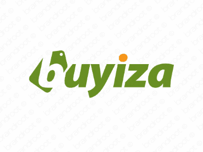 Buyiza logo design included with business name and domain name, Buyiza.com.