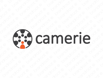 Camerie logo design included with business name and domain name, Camerie.com.