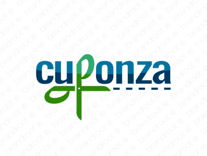 Cuponza logo design included with business name and domain name, Cuponza.com.