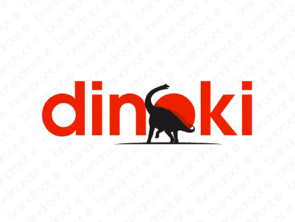 Dinoki logo design included with business name and domain name, Dinoki.com.