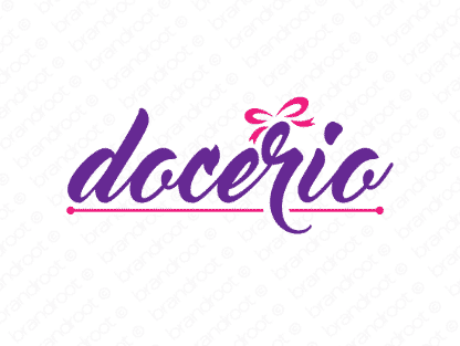 Docerio logo design included with business name and domain name, Docerio.com.