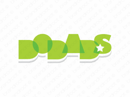 Dodads logo design included with business name and domain name, Dodads.com.