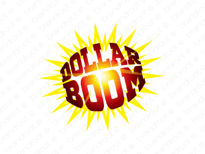 Dollarboom logo design included with business name and domain name, Dollarboom.com.