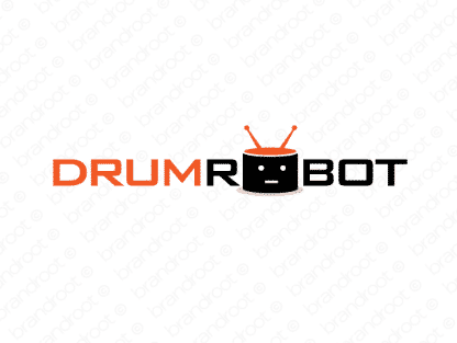 Drumrobot logo design included with business name and domain name, Drumrobot.com.