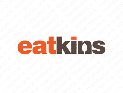 Eatkins logo design included with business name and domain name, Eatkins.com.