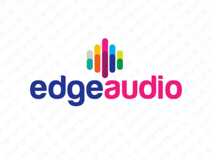 Edgeaudio logo design included with business name and domain name, Edgeaudio.com.
