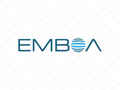 Emboa logo design included with business name and domain name, Emboa.com.