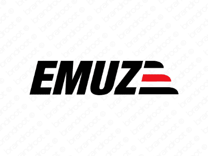 Emuze logo design included with business name and domain name, Emuze.com.