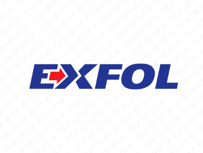 Exfol logo design included with business name and domain name, Exfol.com.