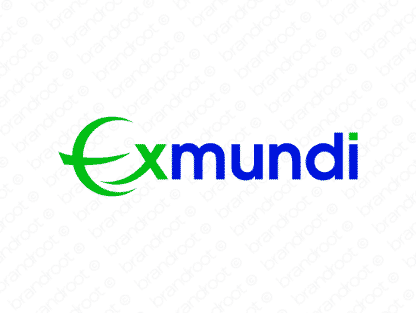Exmundi logo design included with business name and domain name, Exmundi.com.
