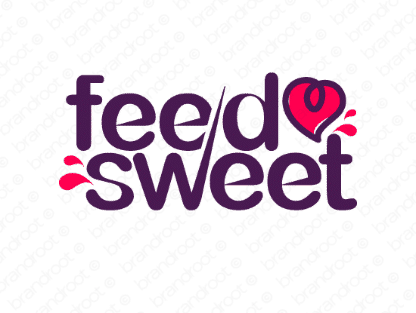 Feedsweet logo design included with business name and domain name, Feedsweet.com.