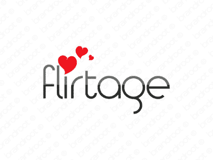 Flirtage logo design included with business name and domain name, Flirtage.com.