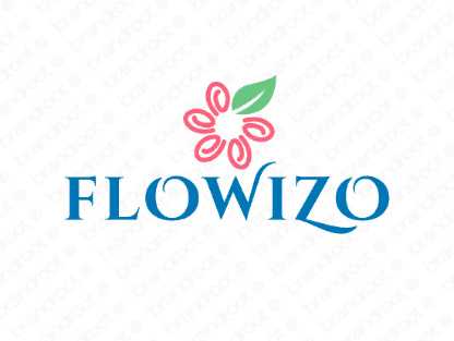 Flowizo logo design included with business name and domain name, Flowizo.com.