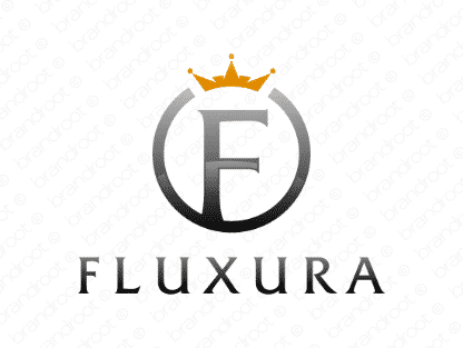 Fluxura logo design included with business name and domain name, Fluxura.com.