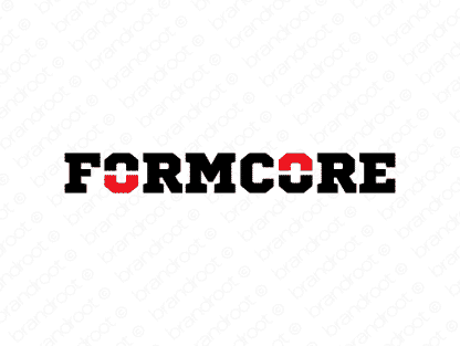 Formcore logo design included with business name and domain name, Formcore.com.