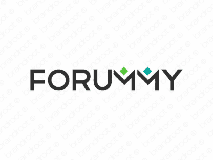 Forummy logo design included with business name and domain name, Forummy.com.