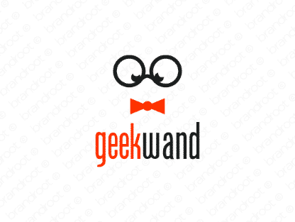 Geekwand logo design included with business name and domain name, Geekwand.com.