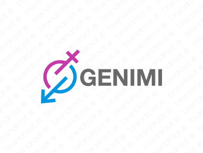Genimi logo design included with business name and domain name, Genimi.com.