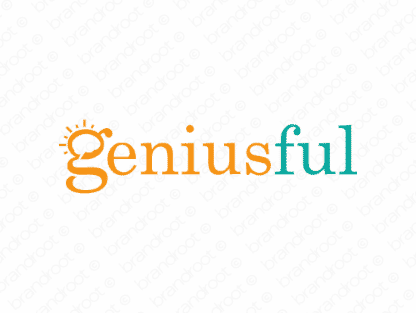 Geniusful logo design included with business name and domain name, Geniusful.com.